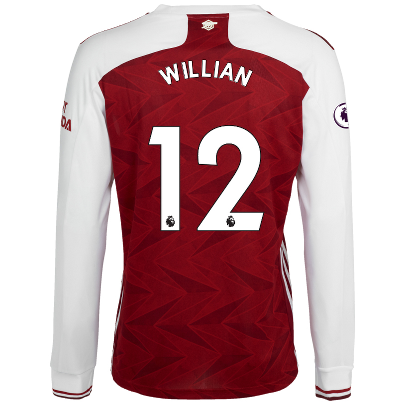 Kinder Fußball Willian #12 Heimtrikot Weiß Rot Long Sleeved Shirt 2020/21 Hemd