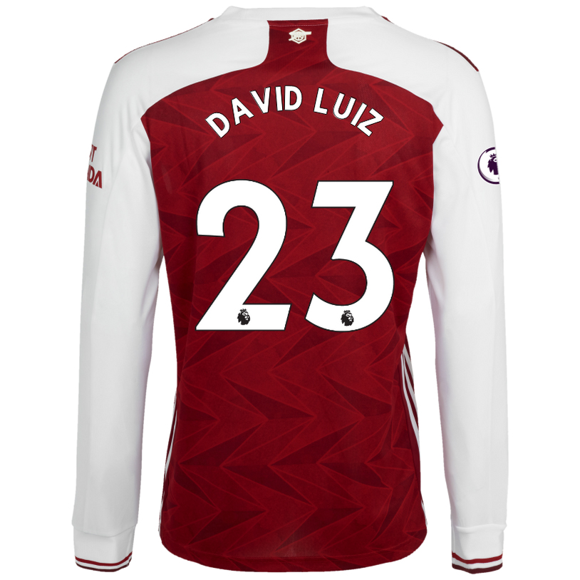 Kinder Fußball David Luiz #23 Heimtrikot Weiß Rot Long Sleeved Shirt 2020/21 Hemd