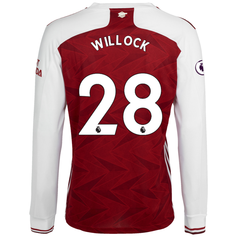 Kinder Fußball Joe Willock #28 Heimtrikot Weiß Rot Long Sleeved Shirt 2020/21 Hemd