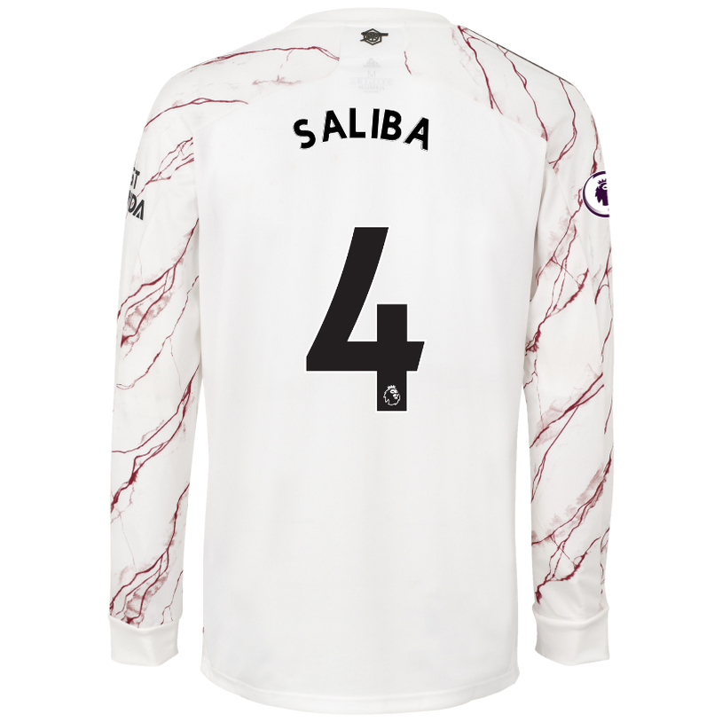 Kinder Fußball William Saliba #4 Auswärtstrikot Weiß Long Sleeved Shirt 2020/21 Hemd