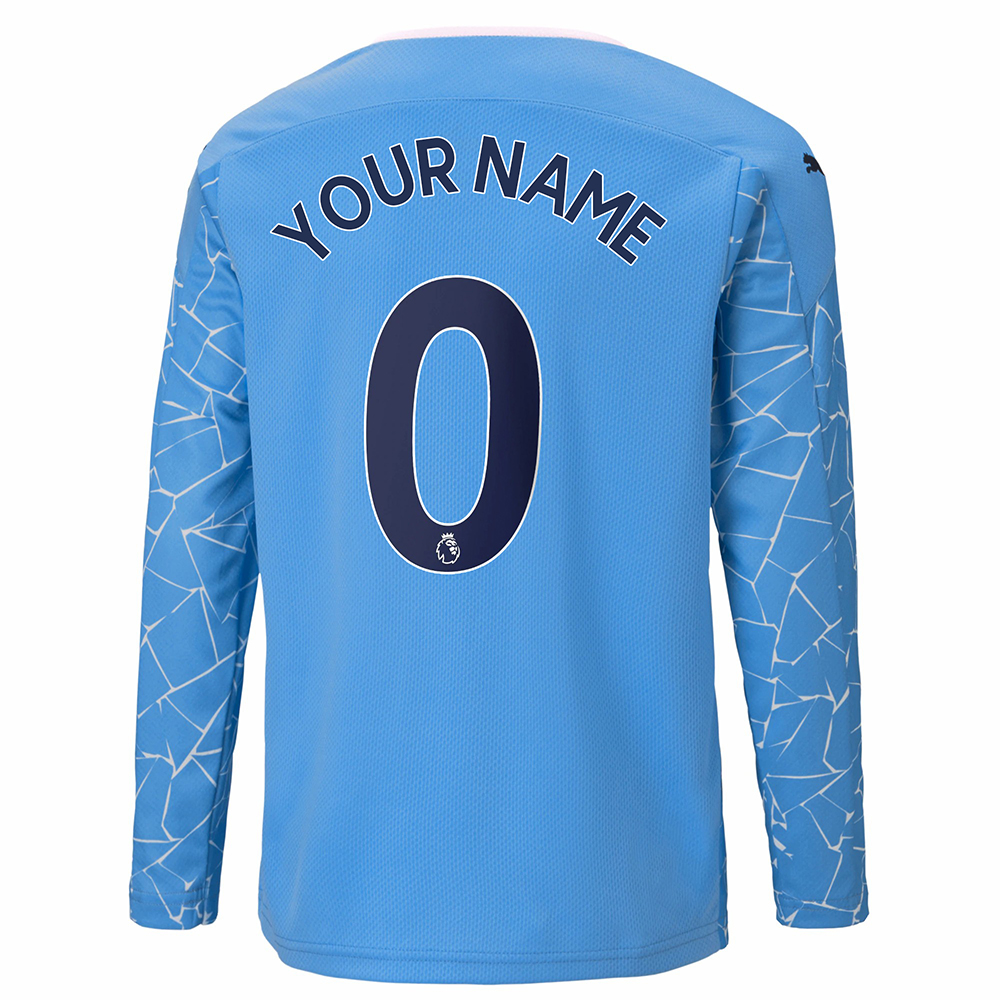 Kinder Fußball Dein Name #0 Heimtrikot Blau Long Sleeved Shirt 2020/21 Hemd
