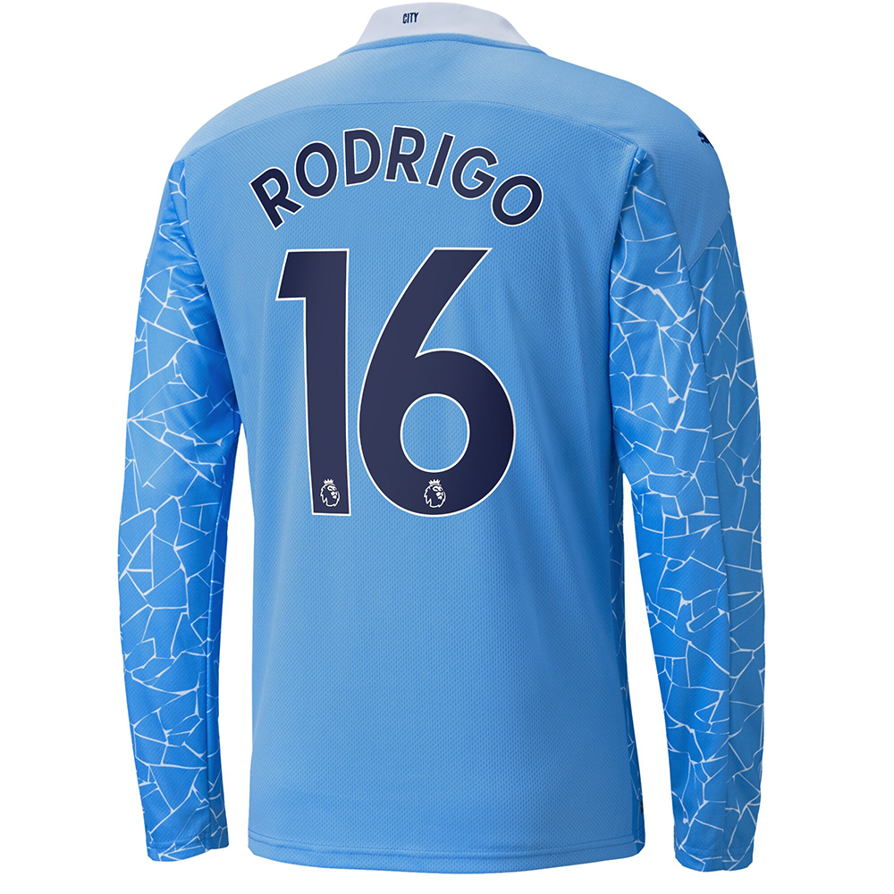 Kinder Fußball Rodri #16 Heimtrikot Blau Long Sleeved Shirt 2020/21 Hemd