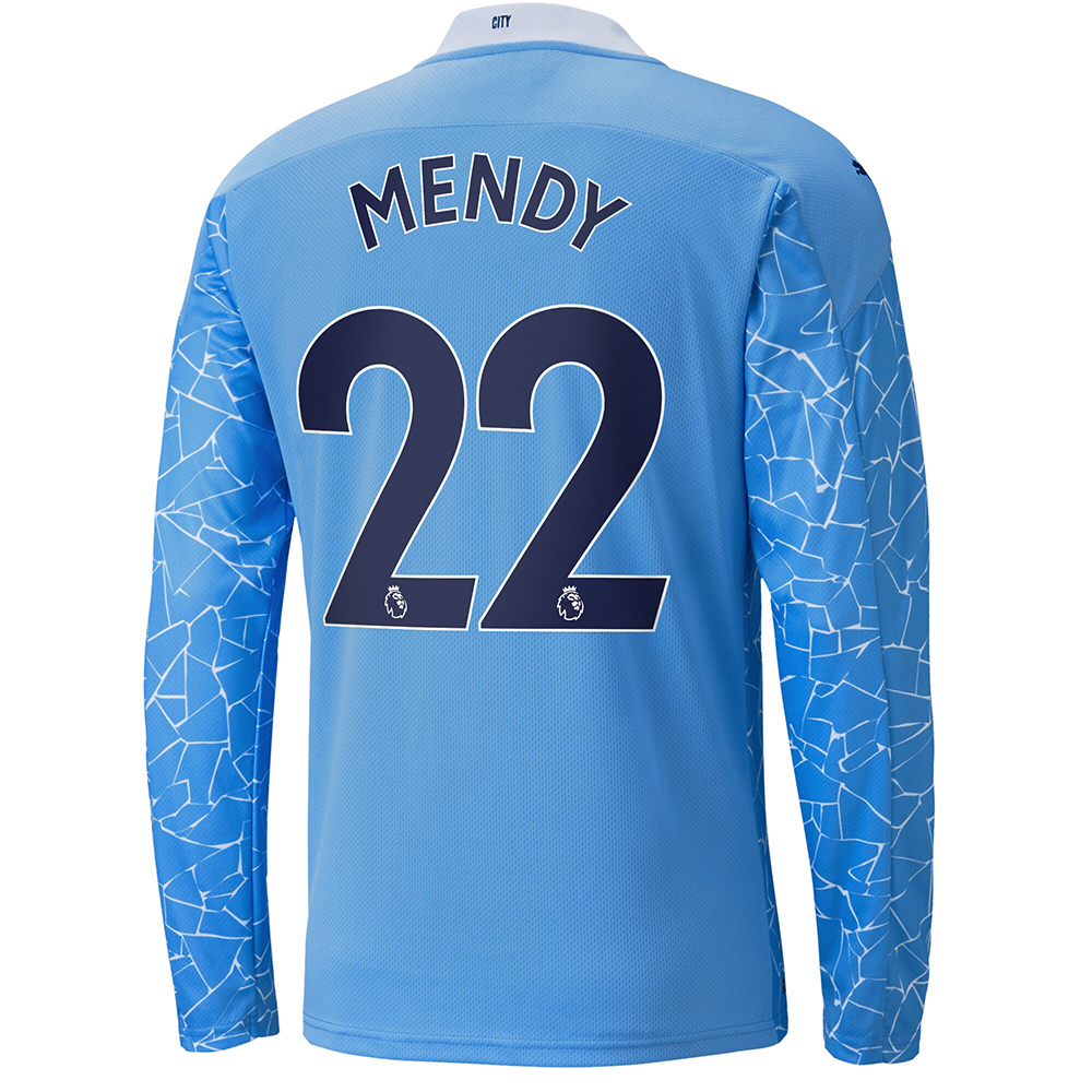 Kinder Fußball Benjamin Mendy #22 Heimtrikot Blau Long Sleeved Shirt 2020/21 Hemd