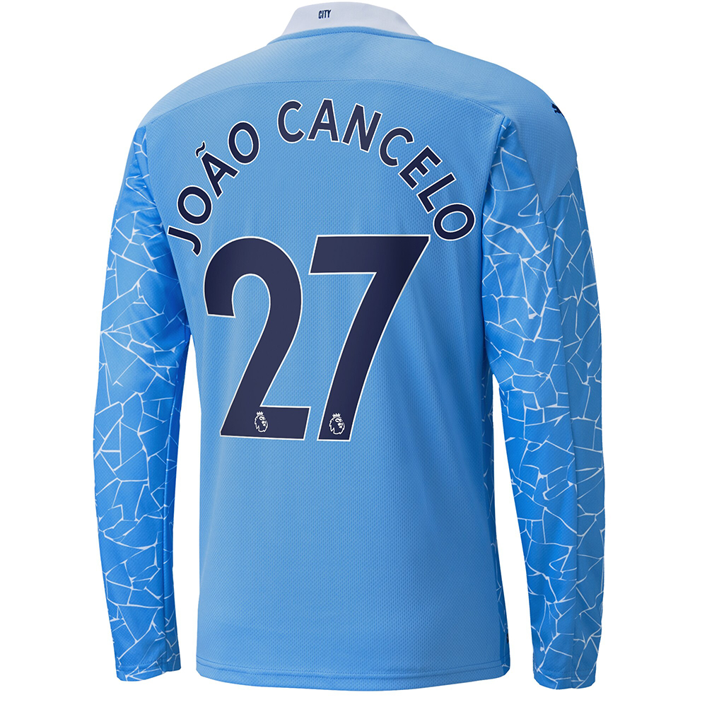 Kinder Fußball Joao Cancelo #27 Heimtrikot Blau Long Sleeved Shirt 2020/21 Hemd